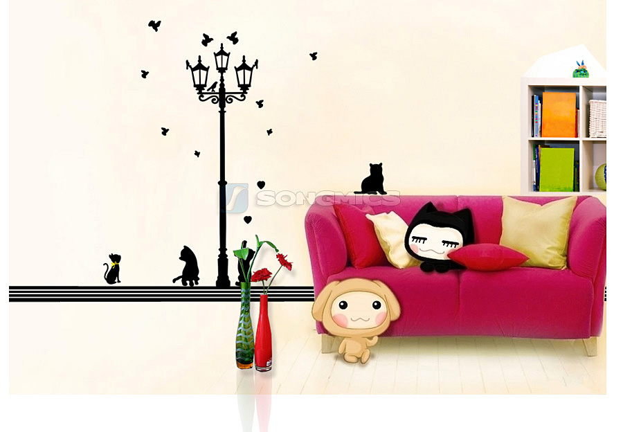 wandaufkleber laterne katze wandtattoo wohnzimmer schlafzimmer schwarz fwt15h ebay. Black Bedroom Furniture Sets. Home Design Ideas