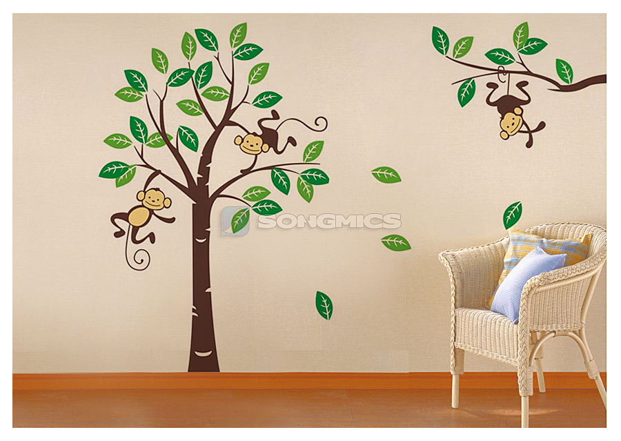 wandaufkleber gro e b ume affen f r kinderzimmer wandtattoo wandsticker fwt17m ebay. Black Bedroom Furniture Sets. Home Design Ideas