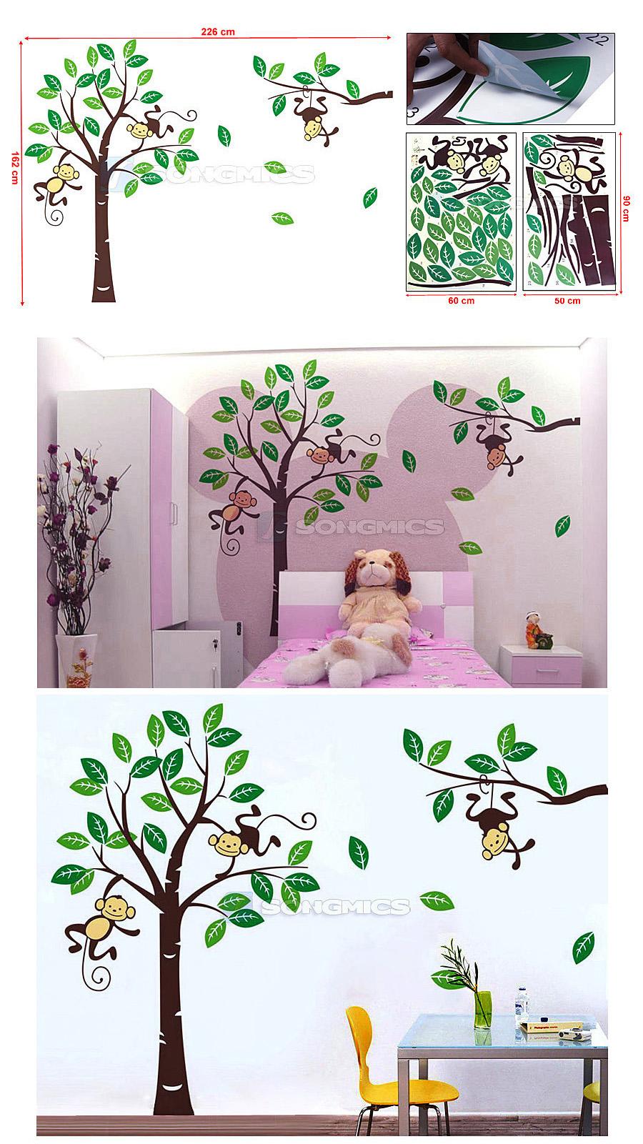 wandaufkleber gro e b ume affen f r kinderzimmer wandtattoo wandsticker fwt17m ebay. Black Bedroom Furniture Sets. Home Design Ideas
