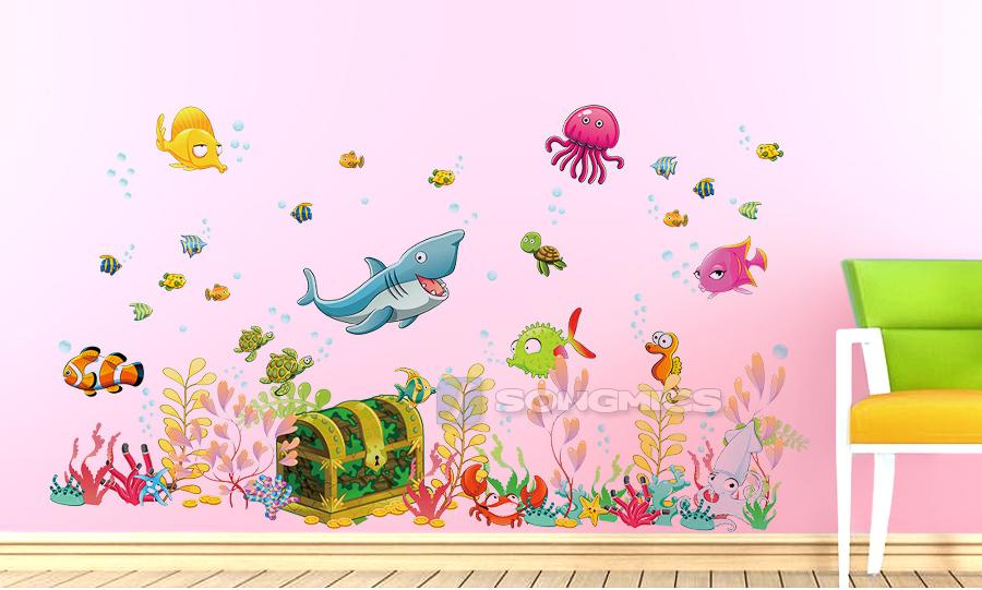 xl wandtattoo wandaufkleber kinder unterwasserwelt ozean meer 122 x 68 cm fwt19m ebay. Black Bedroom Furniture Sets. Home Design Ideas