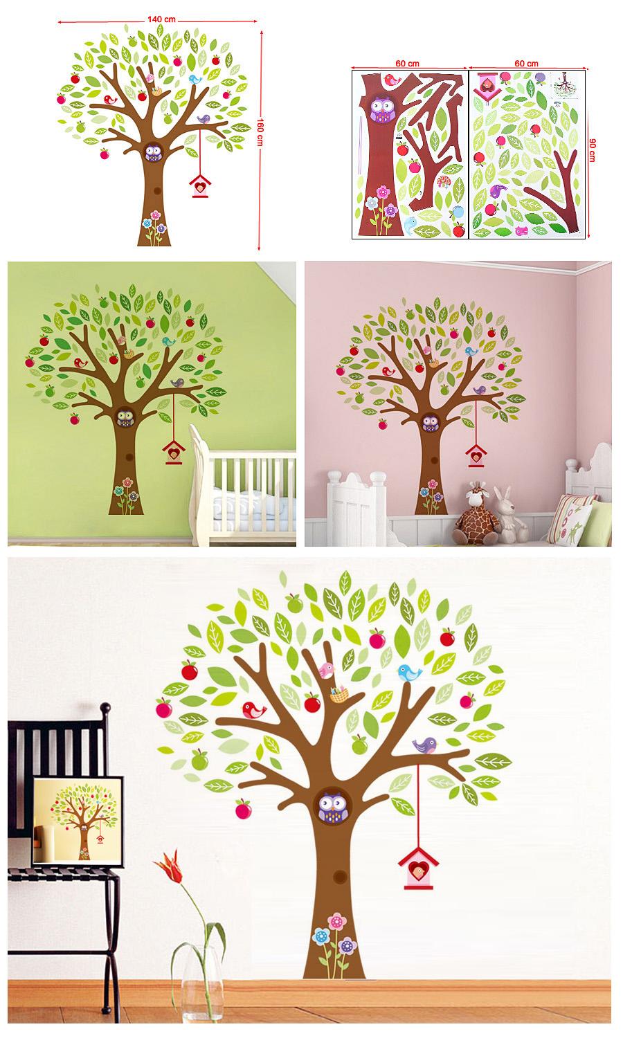 baum wandaufkleber wandsticker wandtattoo wanddeko wanddekoration bunt fwt23c ebay. Black Bedroom Furniture Sets. Home Design Ideas