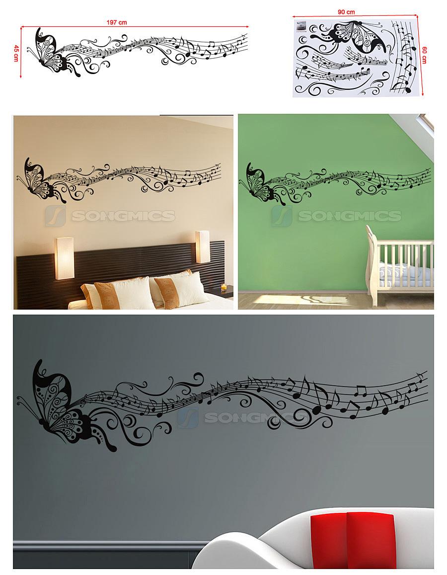 schmetterling butterfly tonzeichen musiknote wandtattoo wandaufkleber fwt33h ebay. Black Bedroom Furniture Sets. Home Design Ideas