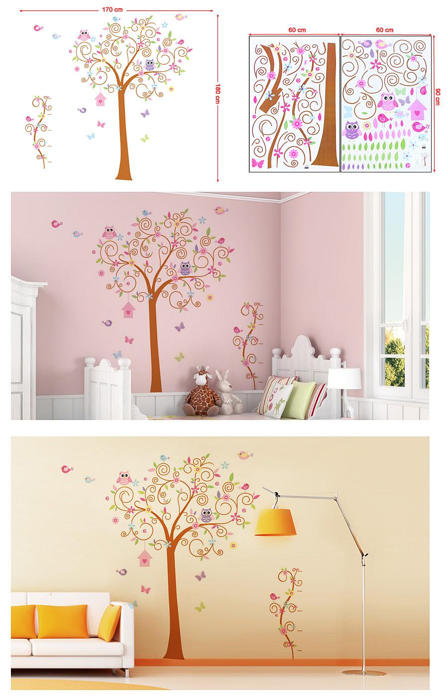 baum wandaufkleber wandsticker wandtattoo wanddekoration 170 x 180cm fwt50c ebay. Black Bedroom Furniture Sets. Home Design Ideas