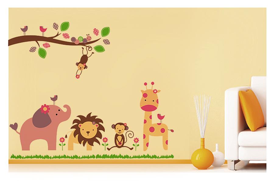 waldtiere wandtattoo baum v gel l we giraffe elefant affe. Black Bedroom Furniture Sets. Home Design Ideas
