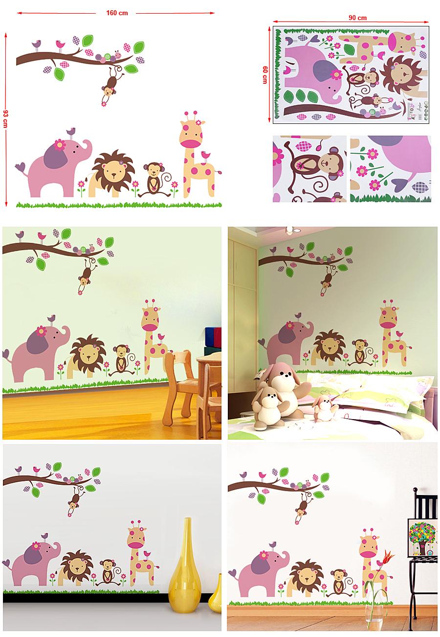 waldtiere wandtattoo baum v gel l we giraffe elefant affe wandaufkleber fwt69c. Black Bedroom Furniture Sets. Home Design Ideas