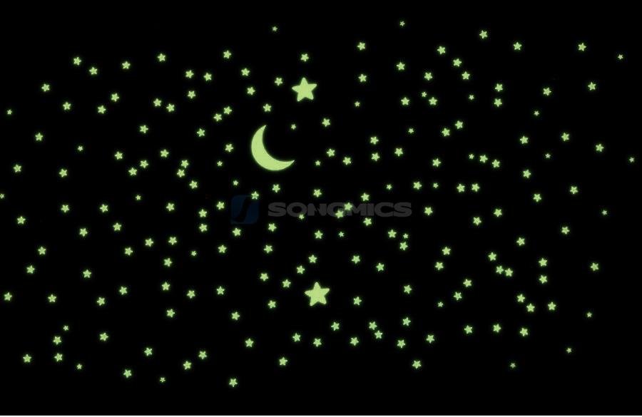 wandtattoo mond sterne fluoreszierend sternenhimmel leuchten im dunklen fwt93y. Black Bedroom Furniture Sets. Home Design Ideas