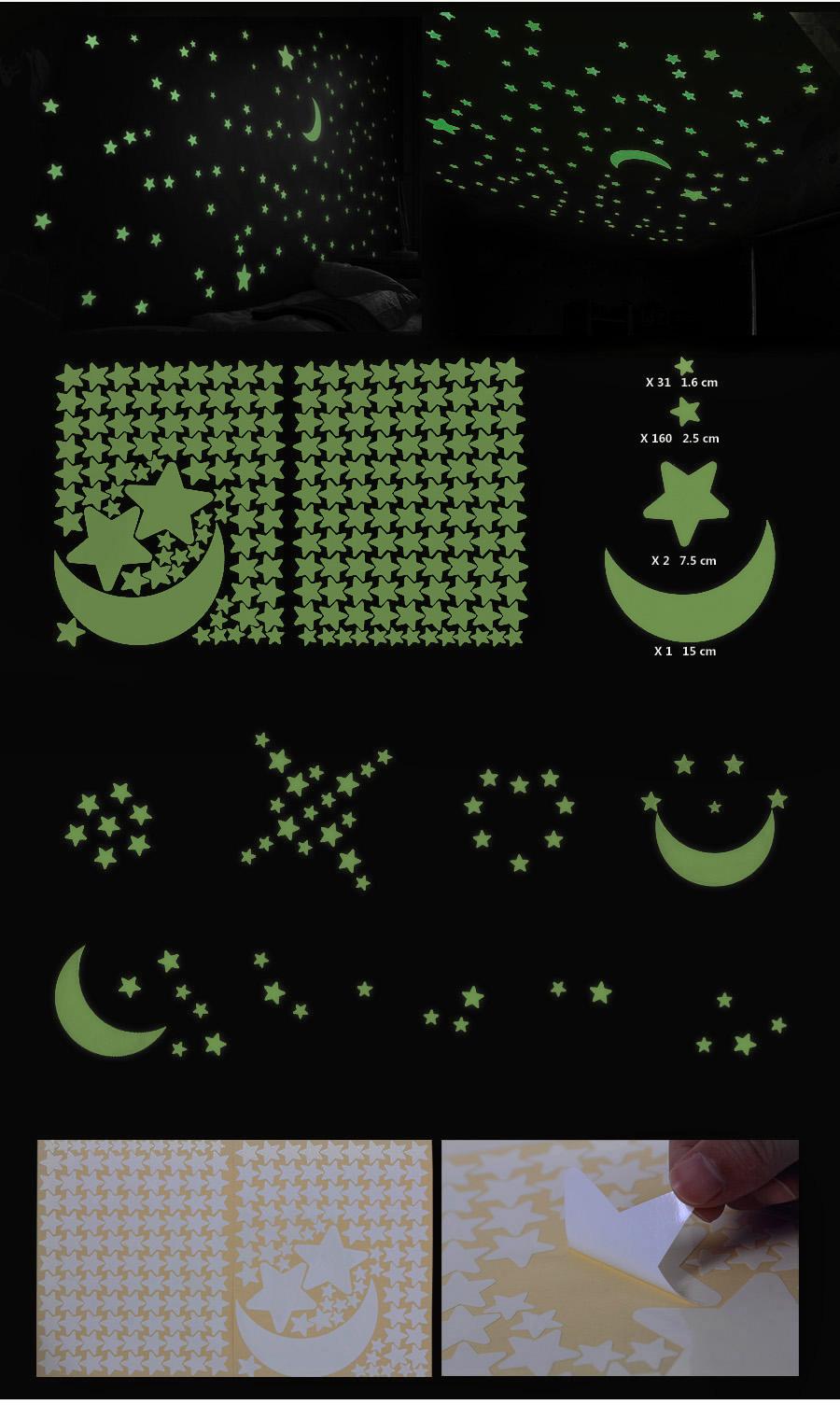 wandtattoo 1 mond 193 st ck sterne fluoreszierend sternenhimmel leuchten fwt93y ebay. Black Bedroom Furniture Sets. Home Design Ideas