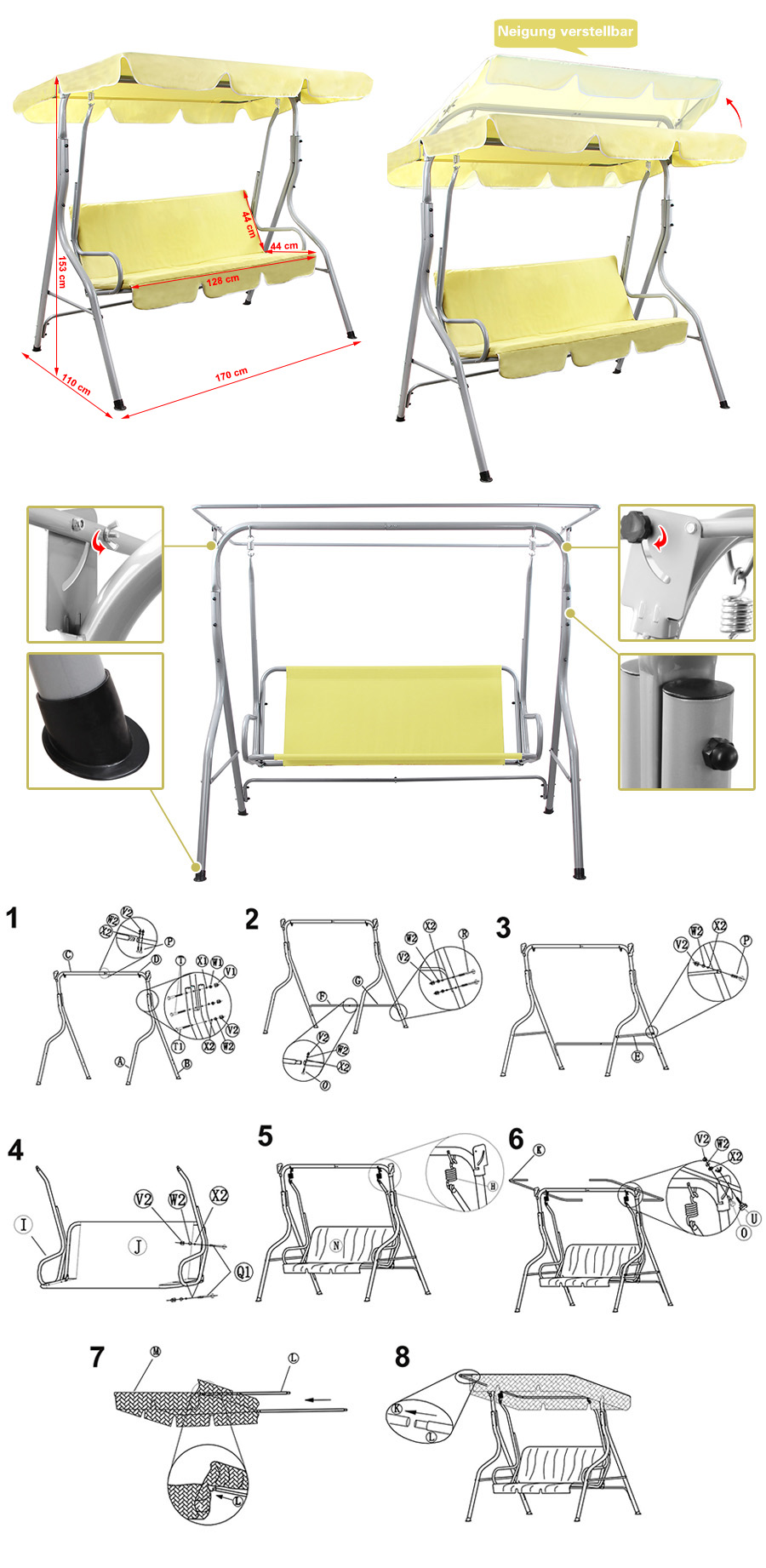 songmics hollywoodschaukel gartenschaukel gartenbank gartenm bel 3 sitzer ghs17m ebay. Black Bedroom Furniture Sets. Home Design Ideas