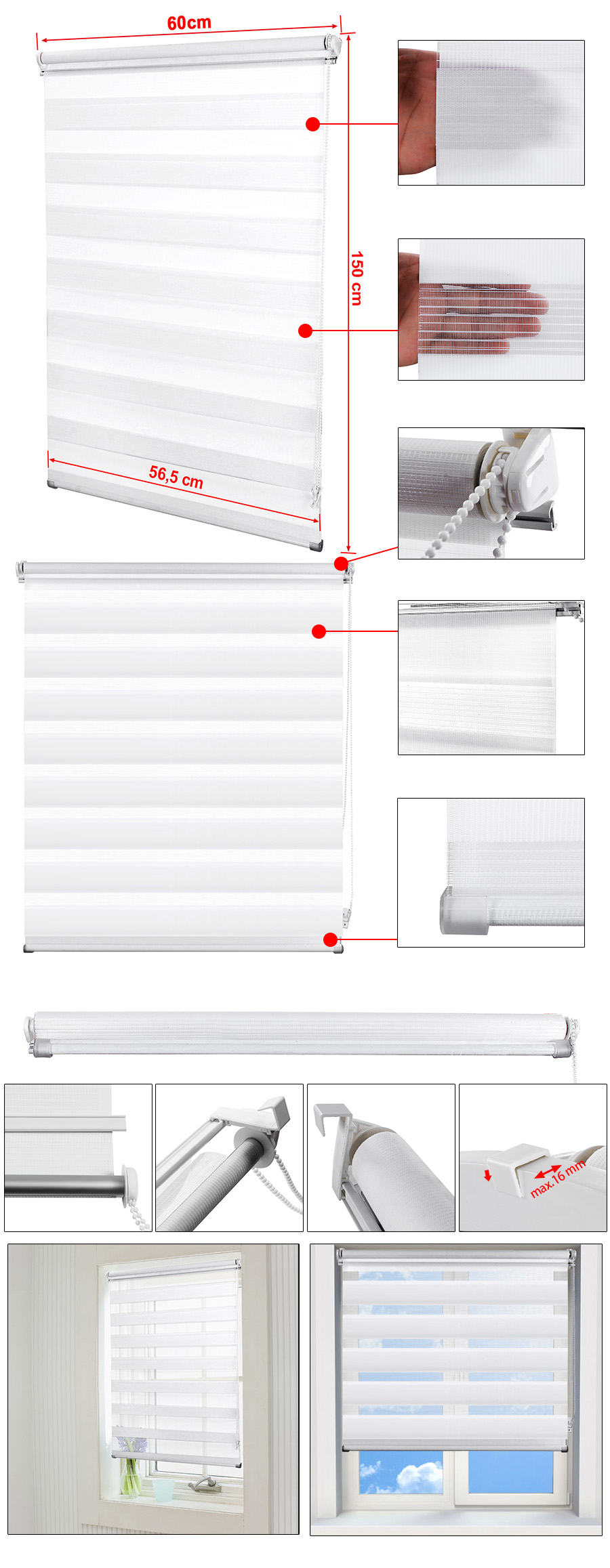 songmics 60 x 150 cm doppelrollo duo rollo klemmfix kettenzugrollo lsg60w ebay. Black Bedroom Furniture Sets. Home Design Ideas