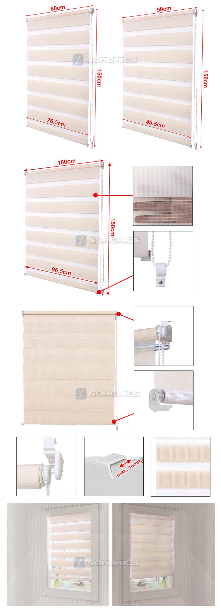 songmics doppelrollo vario klemmfix duo rollo ohne bohren mit klemmtr ger beige ebay. Black Bedroom Furniture Sets. Home Design Ideas