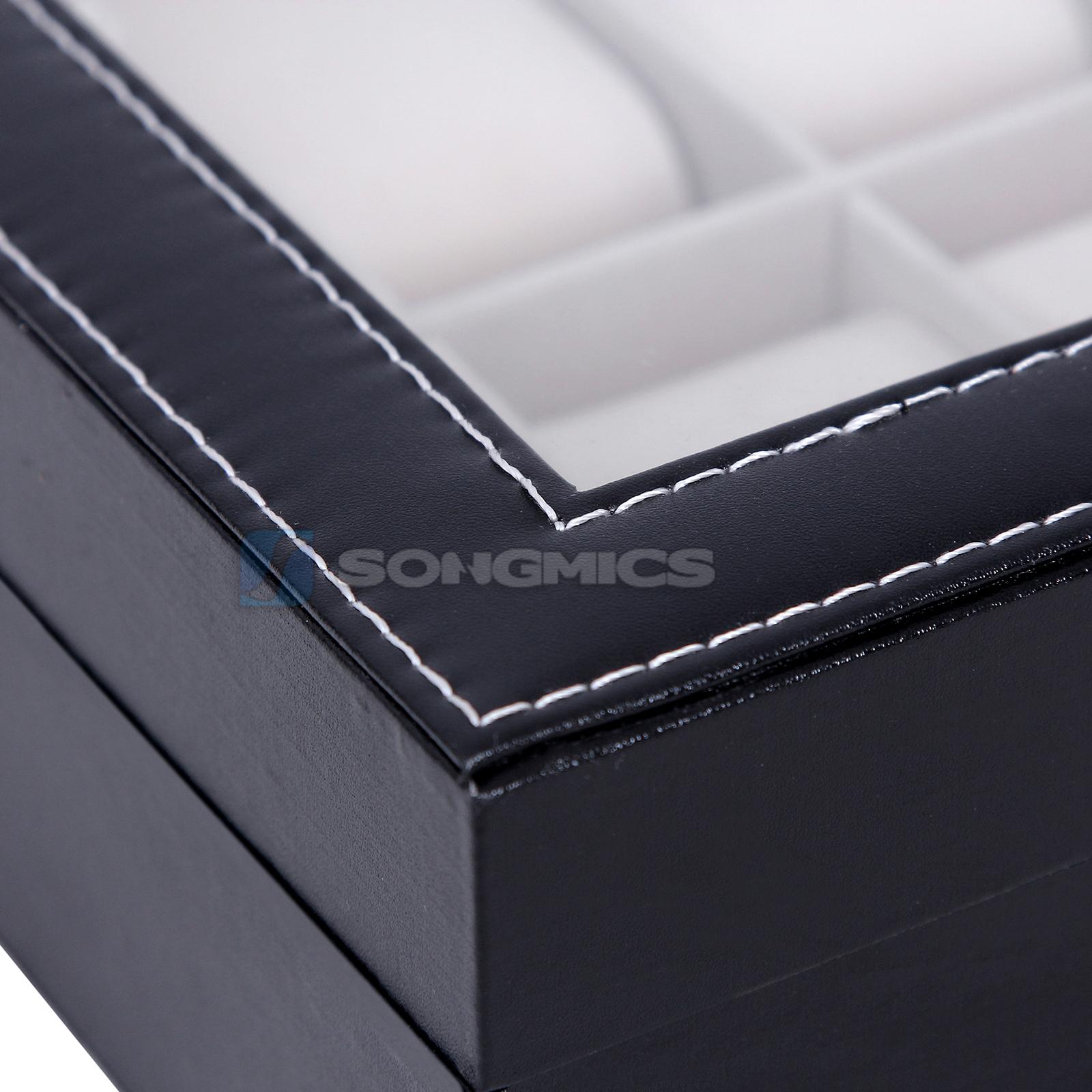 songmics scatola porta orologi box o custodia per 10 orologi jwb010 ebay. Black Bedroom Furniture Sets. Home Design Ideas