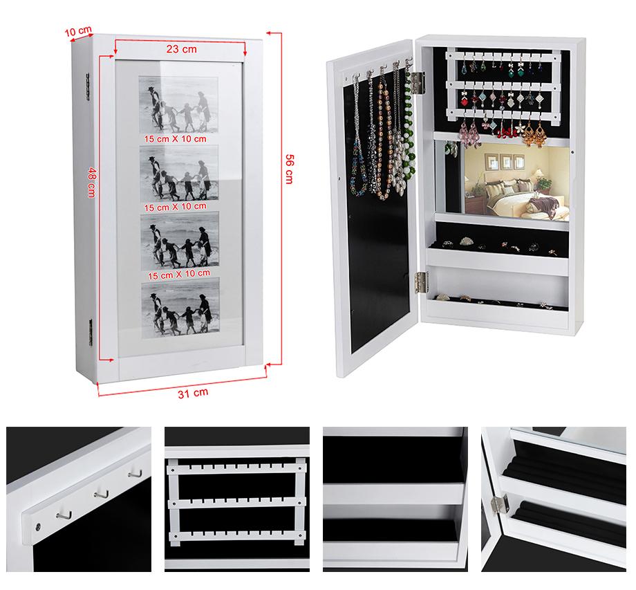 songmics 56 x 31 cm schmuckschrank wandspiegel mit bilderrahmen wei jbc59w ebay. Black Bedroom Furniture Sets. Home Design Ideas
