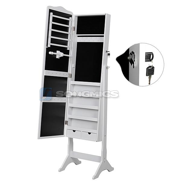 songmics 158cm wei schmuckschrank standspiegel. Black Bedroom Furniture Sets. Home Design Ideas