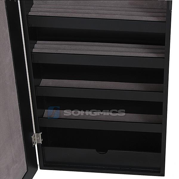 songmics nero armadio specchio portagioie gioielli da parete jbc24h ebay. Black Bedroom Furniture Sets. Home Design Ideas