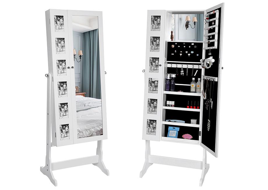 songmics schmuckschrank standspiegel schmuckkommode schrank mit spiegel jbc27w. Black Bedroom Furniture Sets. Home Design Ideas