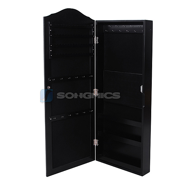 songmics noir armoire murale bijoux rangement avec. Black Bedroom Furniture Sets. Home Design Ideas
