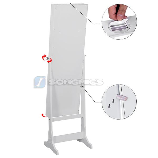 songmics schmuckschrank spiegelschrank standspiegel mit led 154 cm jbc94w ebay. Black Bedroom Furniture Sets. Home Design Ideas