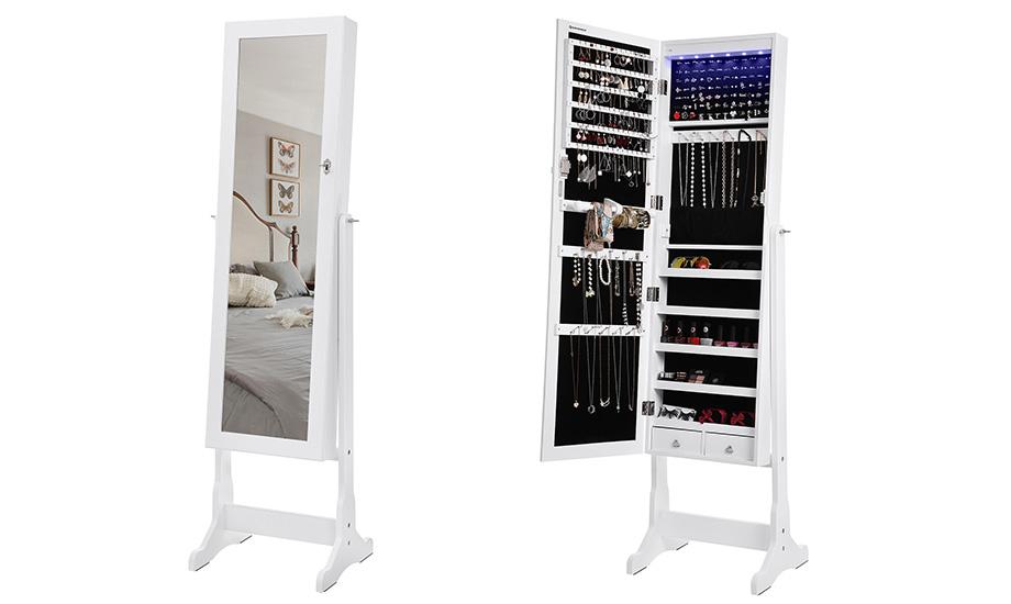 songmics schmuckschrank spiegelschrank standspiegel mit. Black Bedroom Furniture Sets. Home Design Ideas