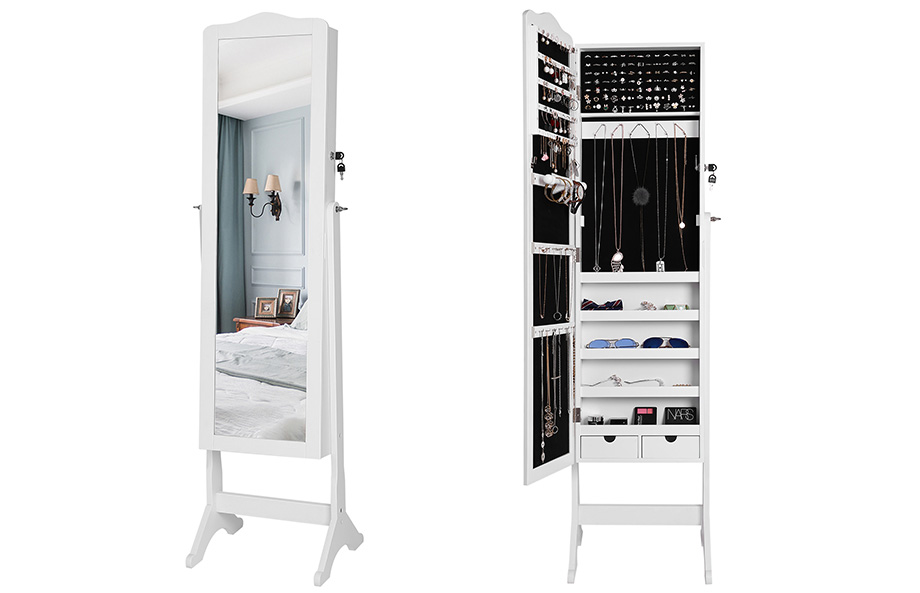 songmics schmuckschrank spiegel abschlie bar 158cm hoch wei standspiegel jbc82w ebay. Black Bedroom Furniture Sets. Home Design Ideas