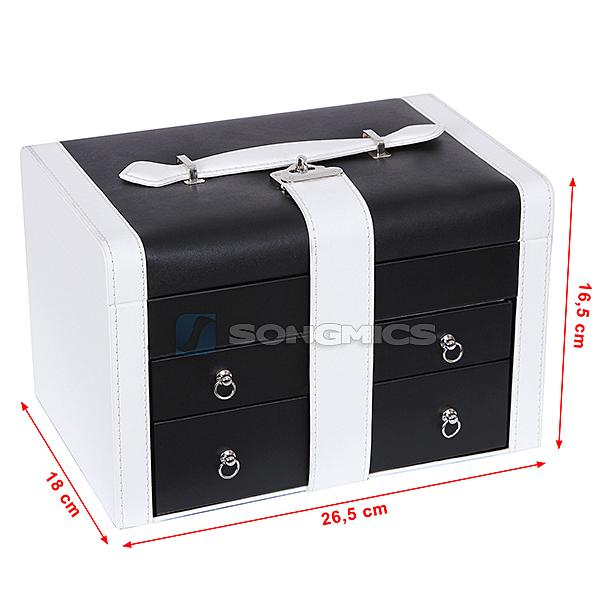 songmics schmuckst nder schmuckkasten schmuckkoffer mit 2 schubladen jbc08w ebay. Black Bedroom Furniture Sets. Home Design Ideas
