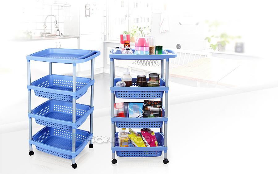 k chenwagen 4 k rben vorratswagen rollwagen korbwagen k che regal blue kfr54q ebay. Black Bedroom Furniture Sets. Home Design Ideas