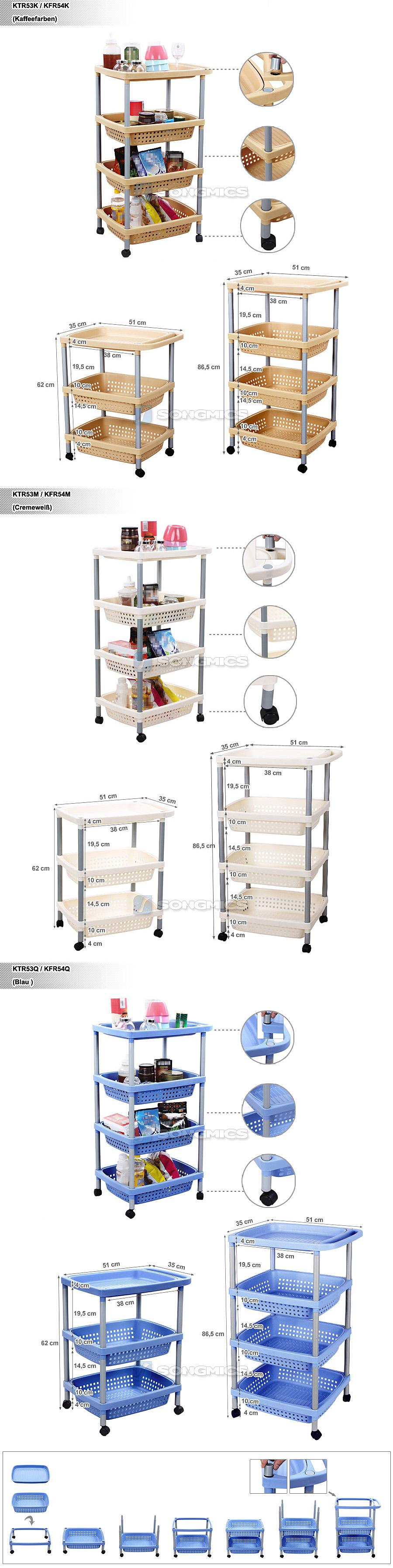 k chenwagen rollwagen badwagen korbwagen aufbewahrungsregal k che regal trolley ebay. Black Bedroom Furniture Sets. Home Design Ideas