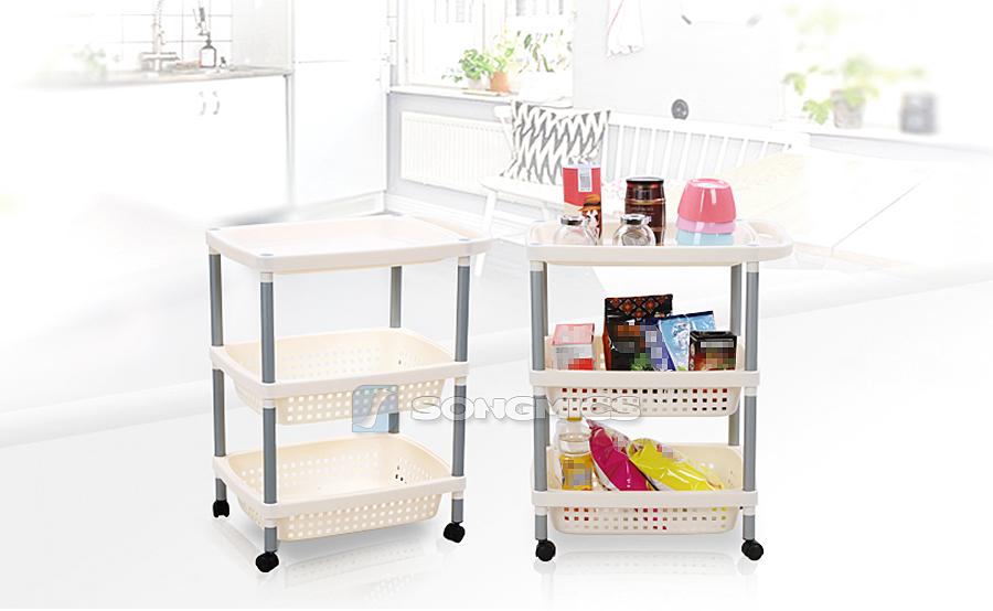 k chenwagen 3 k rben vorratswagen rollwagen korbwagen badregal regal wei ktr53m ebay. Black Bedroom Furniture Sets. Home Design Ideas