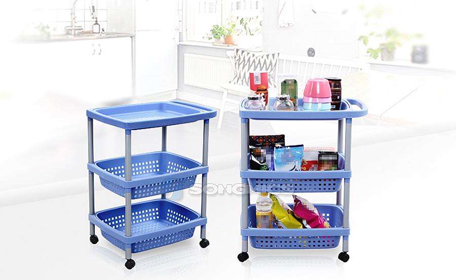 k chenwagen 3 k rben rollwagen standregal badregal mit dem griff blau ktr53q ebay. Black Bedroom Furniture Sets. Home Design Ideas