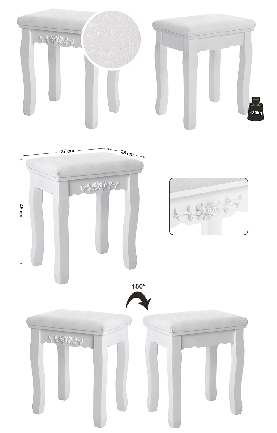 songmics white vintage stool dressing table piano chair with floral deco rds45w ebay