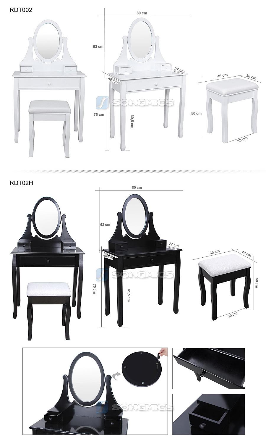 songmics coiffeuse table maquillage et tabouret et tiroir et miroir pivotant rdt. Black Bedroom Furniture Sets. Home Design Ideas