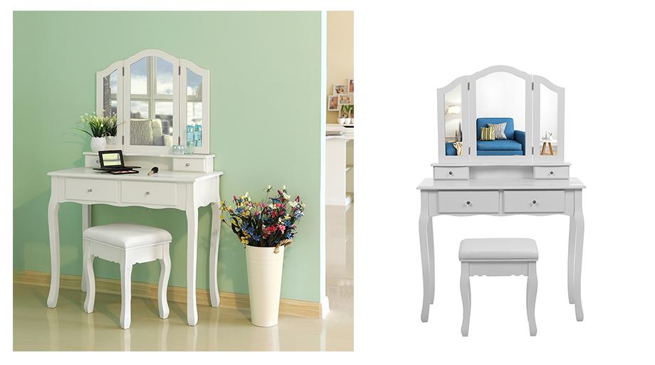 songmics 3 spiegel schminktisch hocker 2 unterteiler kippsicherung wei remscheid. Black Bedroom Furniture Sets. Home Design Ideas