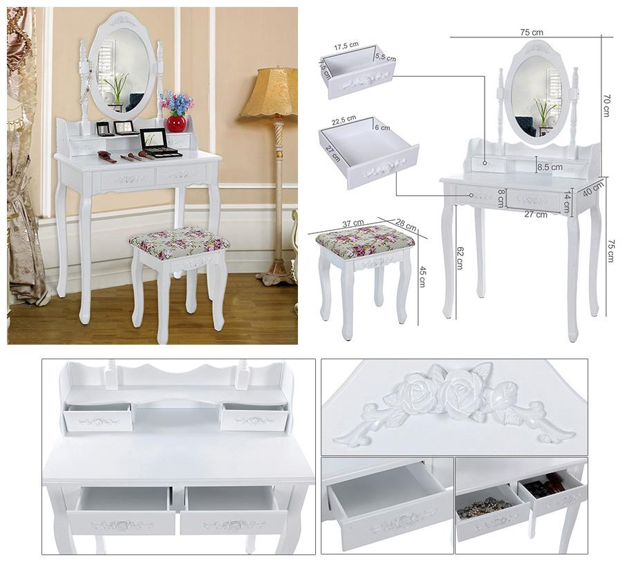 songmics schminktisch mit spiegel und hocker wei schwarz gross schminktische ebay. Black Bedroom Furniture Sets. Home Design Ideas