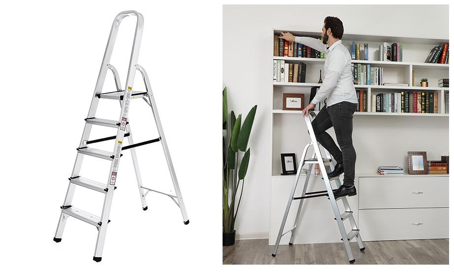 songmics 5 stufen alu leiter 150 kg traglast sicherheits schal glt159 ebay. Black Bedroom Furniture Sets. Home Design Ideas