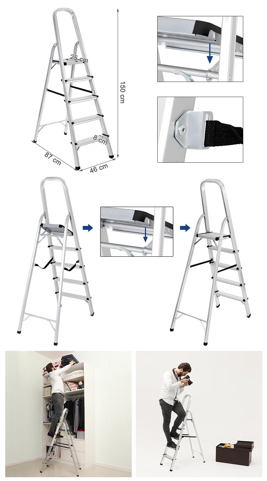 songmics leiter 5 stufen traglast arbeitsh he 2 7m sicherheits schale glt159 ebay. Black Bedroom Furniture Sets. Home Design Ideas