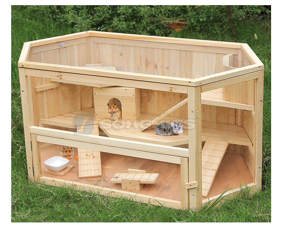 Xxl wooden hamster cage hut rodent guinea pig small animal for Wooden guinea pig cage