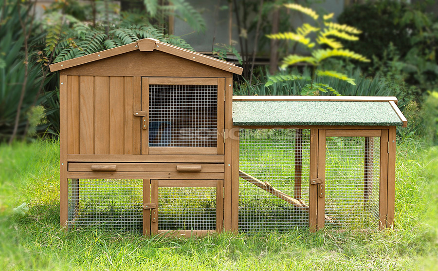 xxl kaninchenstall hasenstall kleintierstall doppelstock kaninchenk fig prh036 ebay. Black Bedroom Furniture Sets. Home Design Ideas