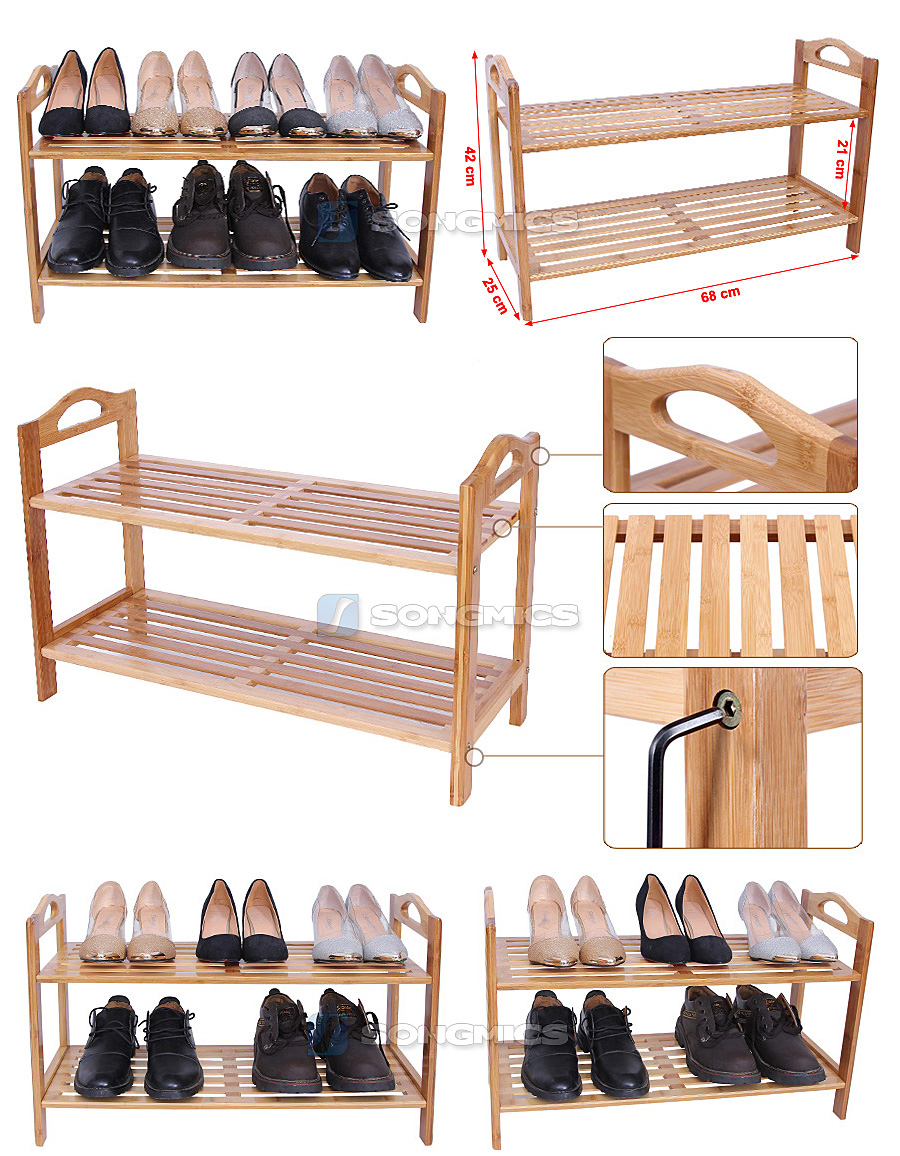 songmics bambus regal schuhregal sc huhschrank schuhablage schuhst nder lbs02n. Black Bedroom Furniture Sets. Home Design Ideas