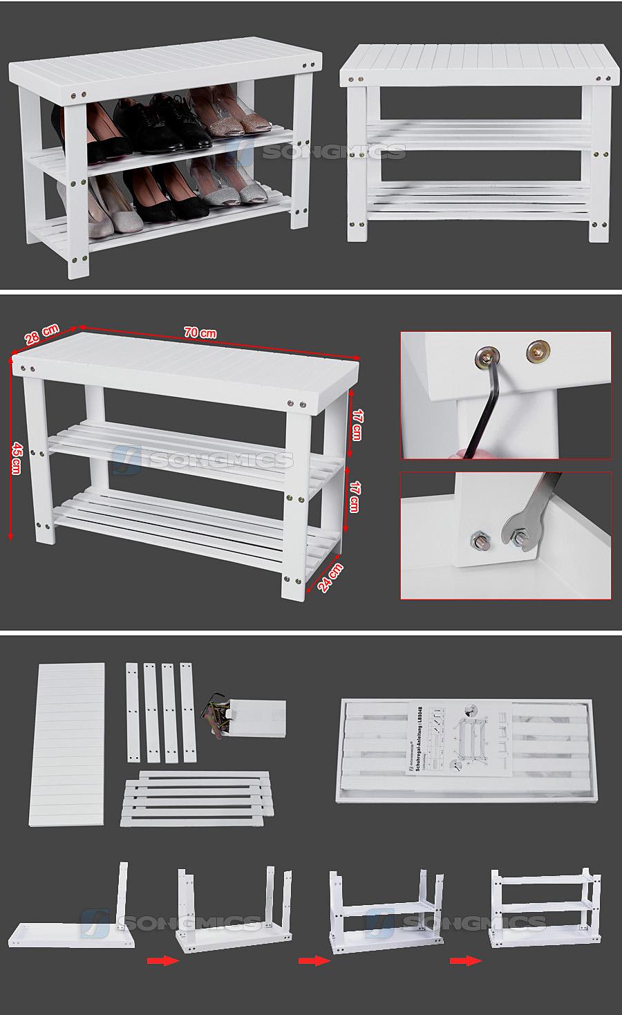 songmics schuhregal schuhst nder sitzbank hocker bambus schuhbank wei lbs04b ebay. Black Bedroom Furniture Sets. Home Design Ideas