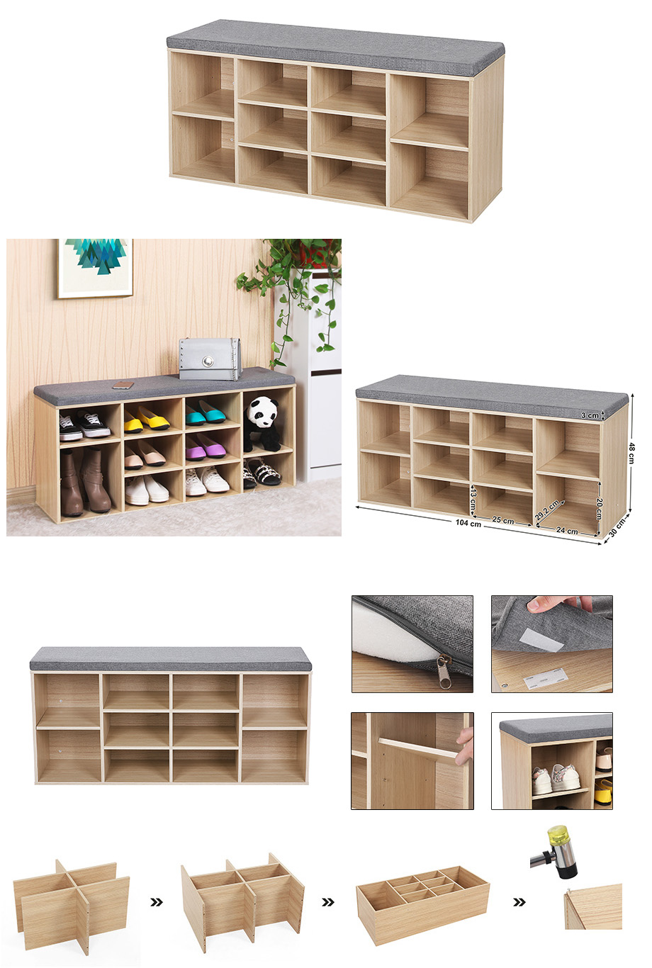 schuhbank schuhschrank aus holzspanplatte mit sitzkissen holzfarben lhs10n. Black Bedroom Furniture Sets. Home Design Ideas