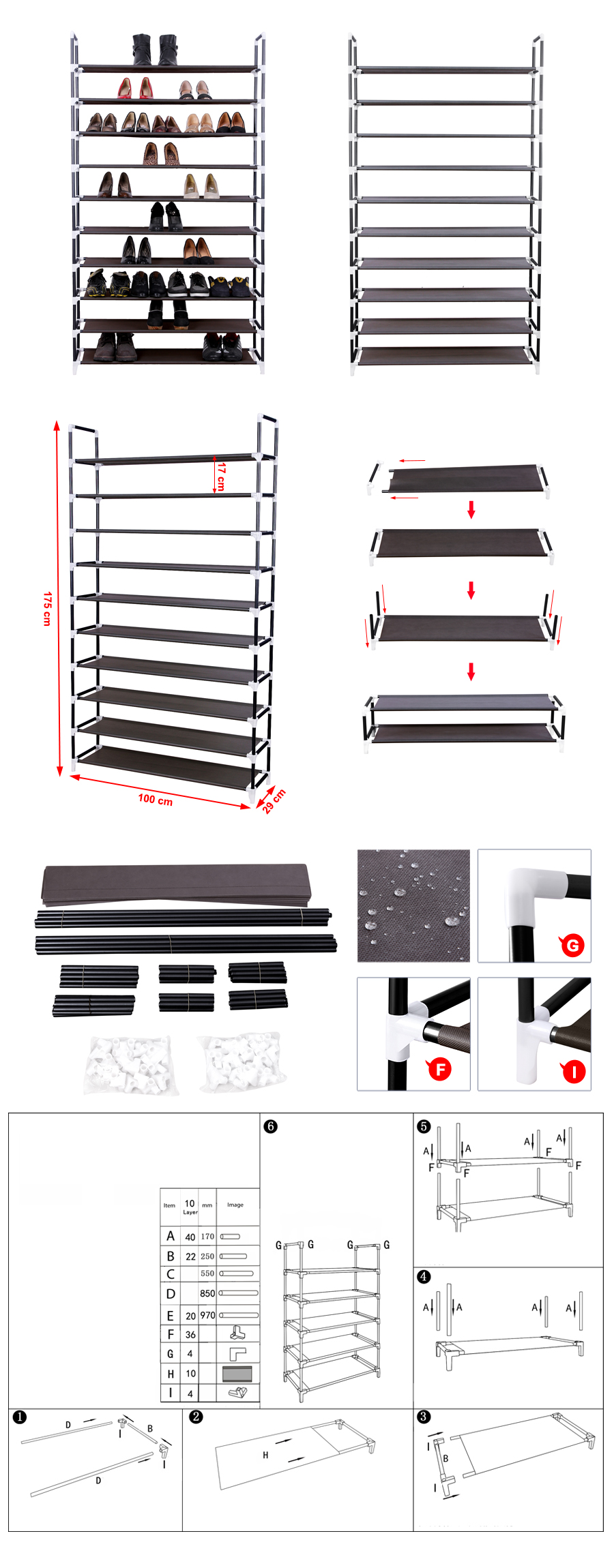 10 schicht schuhschrank schuhablage schuhregal f r 50 paar. Black Bedroom Furniture Sets. Home Design Ideas