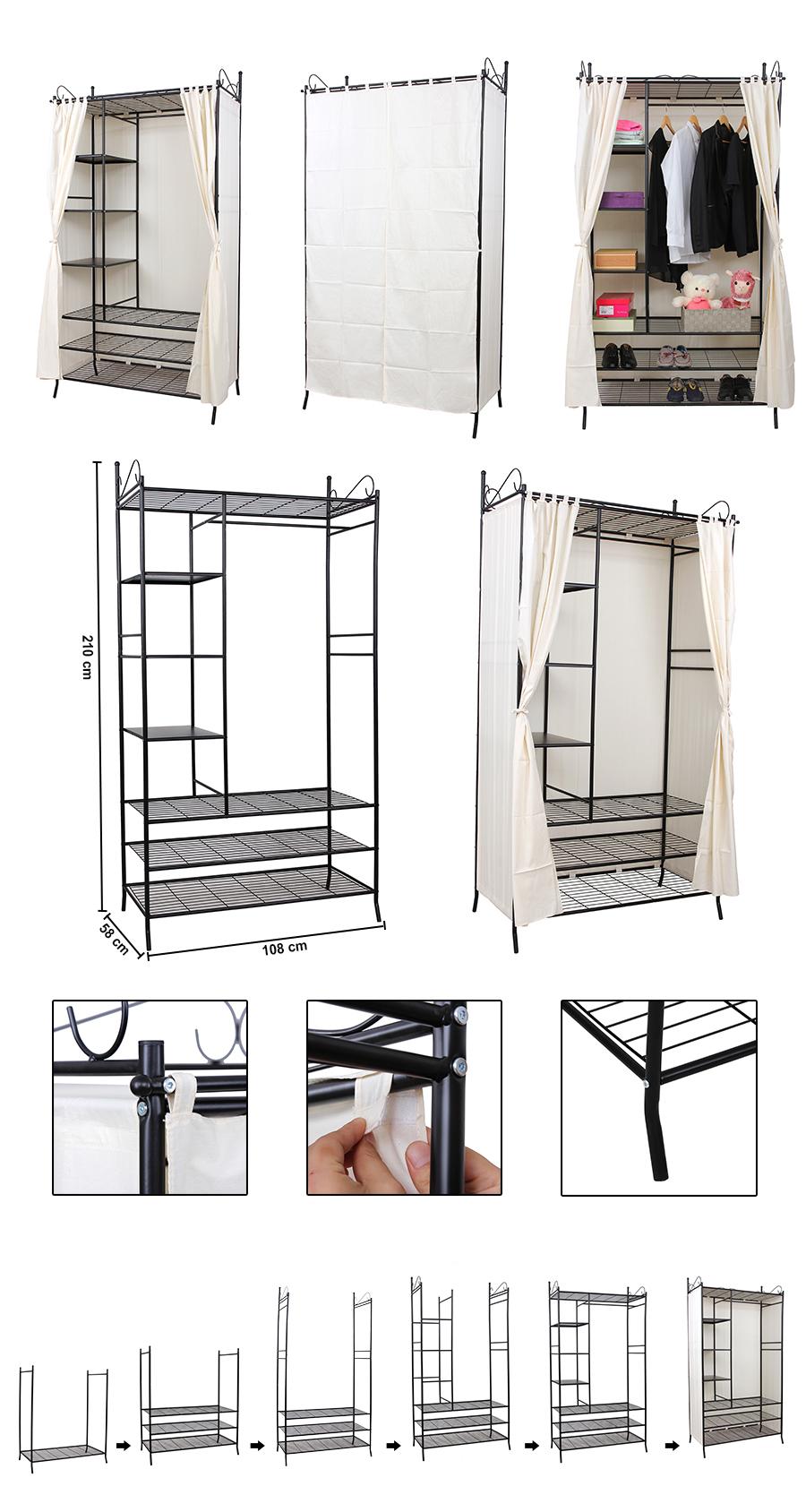 metall kleiderschrank faltschrank garderobe schrank stoff mit vorhang rtg04h ebay. Black Bedroom Furniture Sets. Home Design Ideas