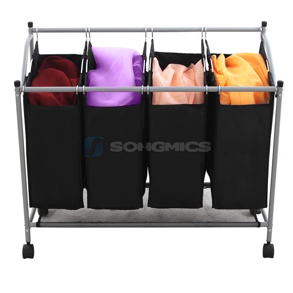 songmics chariot linge avec 4 sacs linge noir panier linge lsf005 ebay. Black Bedroom Furniture Sets. Home Design Ideas