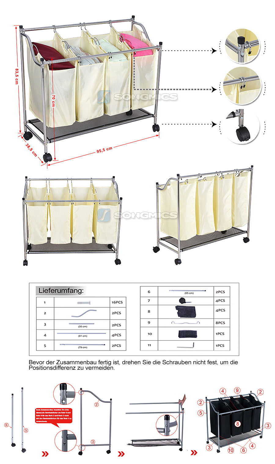 w schesortierer w schewagen w schesammler w schetonne mit 4 f cher beige lsf005s ebay. Black Bedroom Furniture Sets. Home Design Ideas