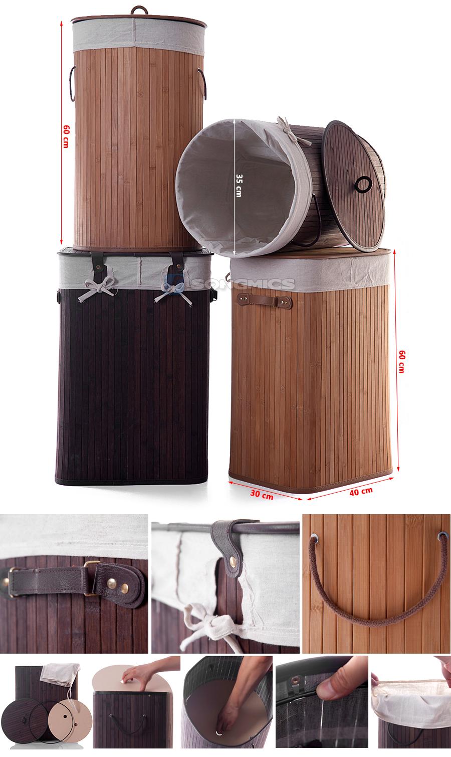 songmics bambus w schekorb w schebox w schetruhe w schesammler eckig rund ebay. Black Bedroom Furniture Sets. Home Design Ideas
