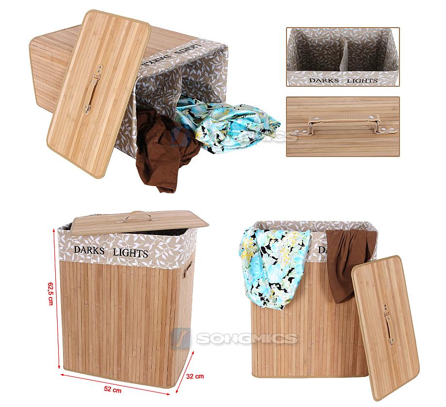 100l bambus 2 f cher faltbar w schek rbe w schebox w schekorb w schesammler ebay. Black Bedroom Furniture Sets. Home Design Ideas