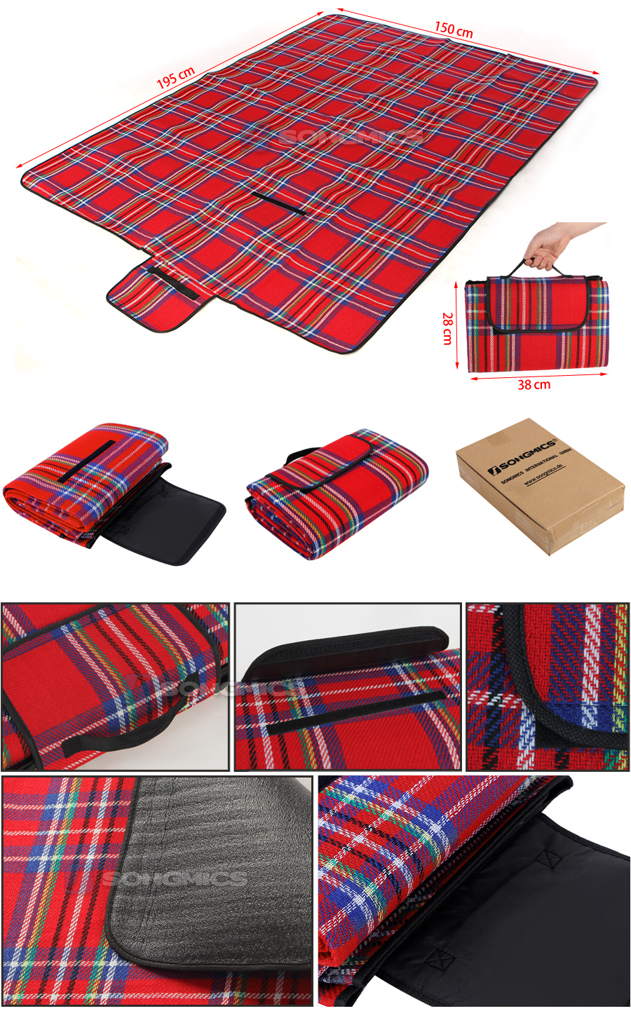 songmics 195 x 150 cm campingdecke picknickdecke stranddecke reisedecke gcm50r ebay. Black Bedroom Furniture Sets. Home Design Ideas