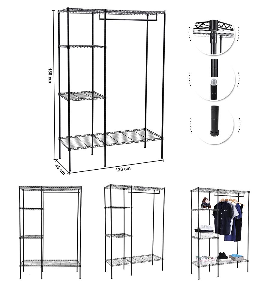 songmics portant penderie v tement armoire de rangement m tal noire ebay. Black Bedroom Furniture Sets. Home Design Ideas