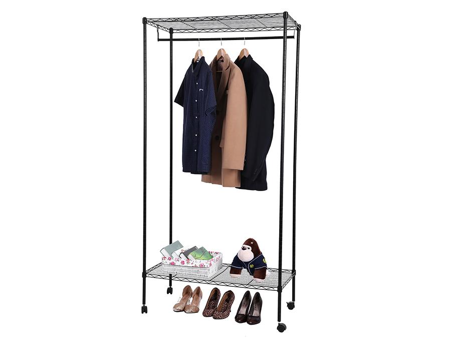 stabil metall kleiderst nder mit ablagen und kleiderstange. Black Bedroom Furniture Sets. Home Design Ideas