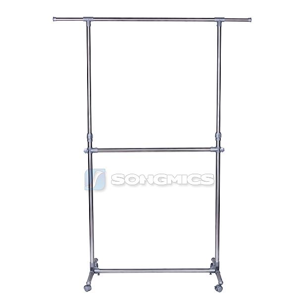 songmics double garment rack adjustable height clothes hanging rail rack llr401