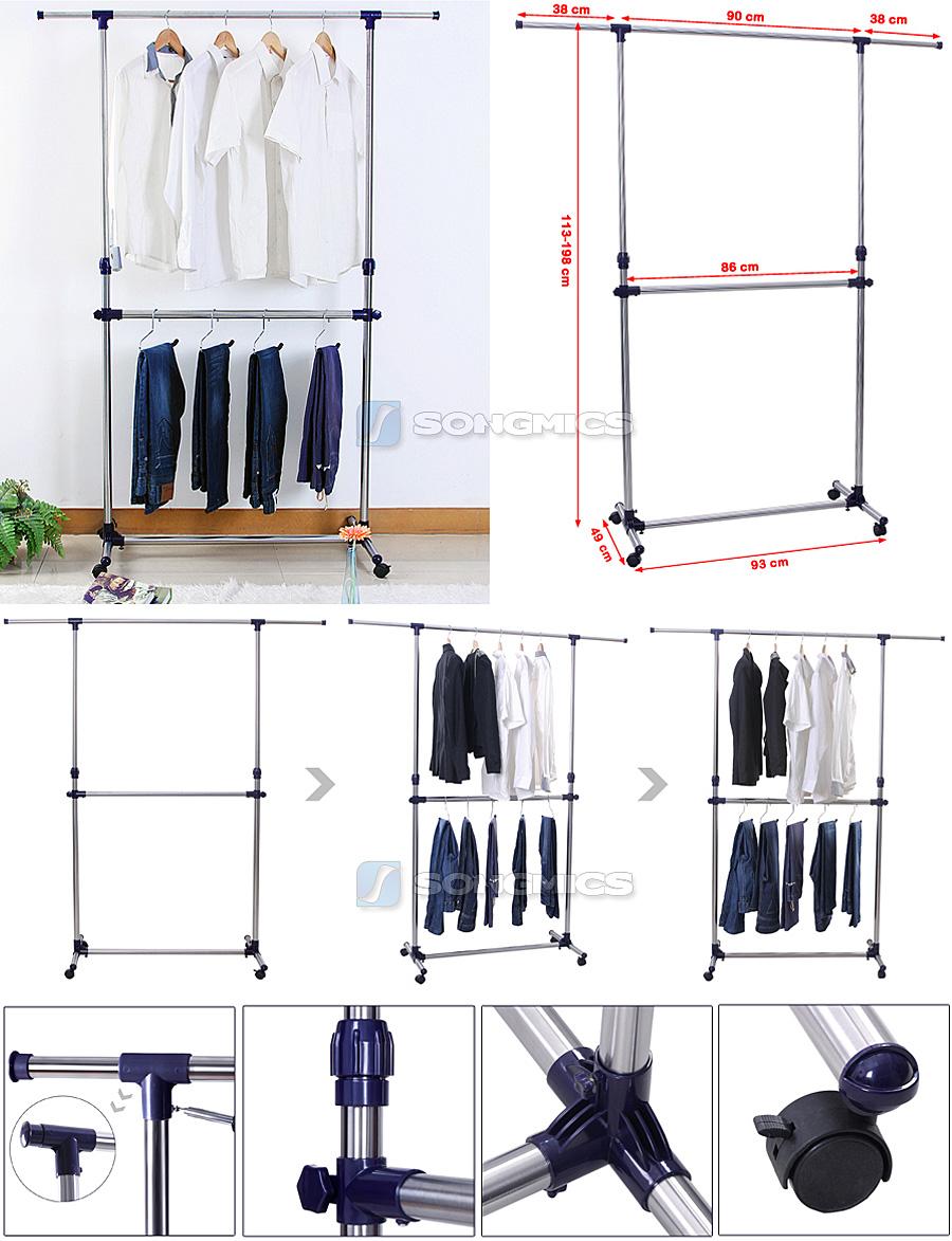 songmics r glables portant en porte v tement porte manteau. Black Bedroom Furniture Sets. Home Design Ideas